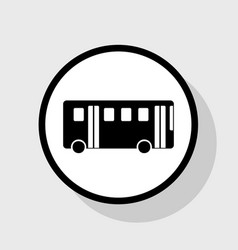 Bus simple sign flat black icon in white vector