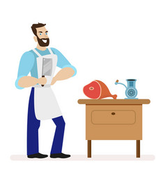 Butcher with a kitchen knife for cutting meat is vector