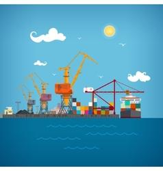 Cargo sea port vector