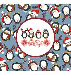 Christmas background with cute penguins vector image vector image