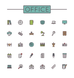 Colored office line icons vector