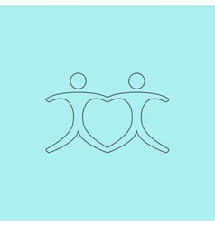 connecting people as a heart - pair vector image vector image