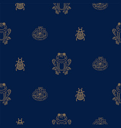 Dark blue and gold outline frog on pond seamless vector