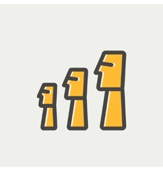 Easter Island Statues thin line icon vector image