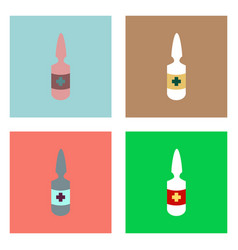 Flat icon design collection medical ampoule with vector
