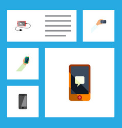 flat icon phone set of chatting smartphone vector image vector image