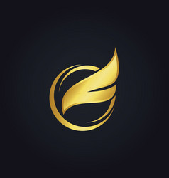 Fly wing gold logo vector