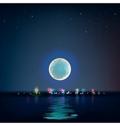 Full blue moon over cold night water vector image vector image