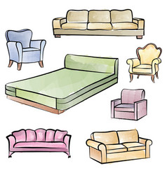 furniture set interior room furnishing bed sofa vector image vector image