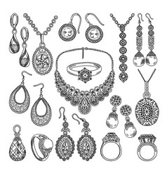 Golden and silver jewelry different diamonds and vector