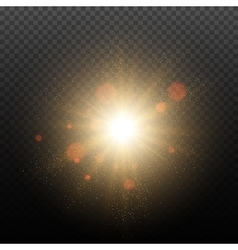 Golden glow light effect vector