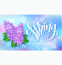 happy hello spring poster with lettering vector image vector image