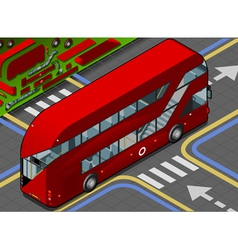 Isometric double decker bus in rear view vector