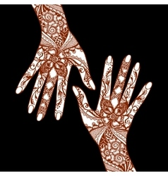 Mehendi hands on black background vector