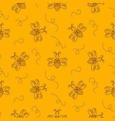 Outline bee insect seamless pattern vector