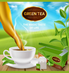 realistic tea leaves poster vector image vector image