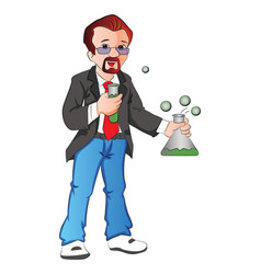 Scientist with testtube and beaker vector