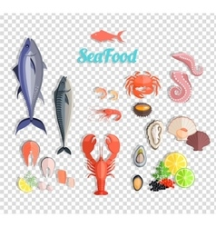 Seafood set design flat fish and crab vector