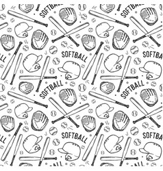 Seamless pattern of softball vector