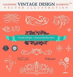 set classic CCalligraphic design elements book vector image