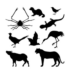 set of silhouettes of japanese animals vector image vector image