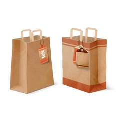 Shopping paper bags and sale labels template vector image vector image