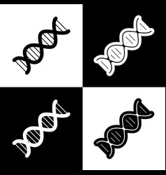 The dna sign black and white icons and vector