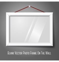 White isolated horizontal photo frame hanging on vector image vector image