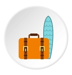 Surfboard and suitcase icon flat style vector