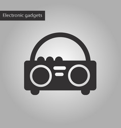 black and white style icon tape recorder vector image