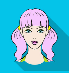 Avatar girl with pink hairavatar and face single vector