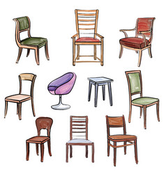 furniture set interior room furnishing chair vector image
