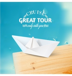 Vacation cruise with ship and text lettering vector