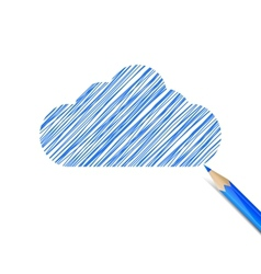Blue cloud drawn with pencil vector