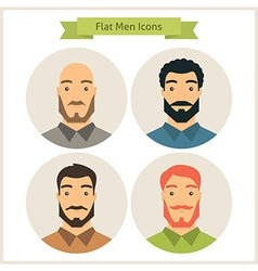Flat men characters circle icons set vector