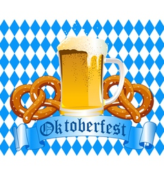 Oktoberfest celebration background with beer and p vector
