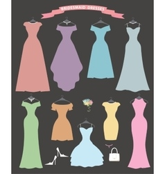 Wedding bridesmaid dress setflat designbridal vector