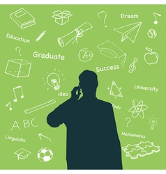 Silhouette people of education concept vector