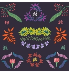 Collection of plants flowers and leaves vector