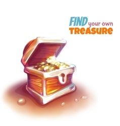 Treasure chest with coins vector