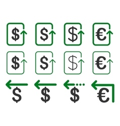 Dollar and euro refund flat icon set vector