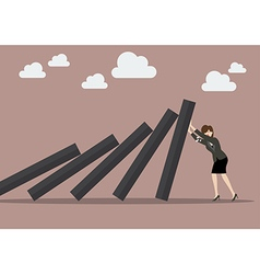 Business woman pushing hard against falling deck vector image