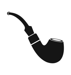 Tobacco pipe icon black simple style vector