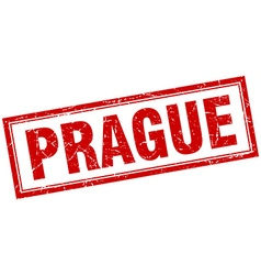 Prague red square grunge stamp on white vector image