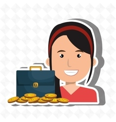 Woman with portfolio and coins isolated icon vector
