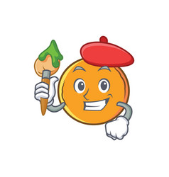 Artist orange fruit cartoon character vector