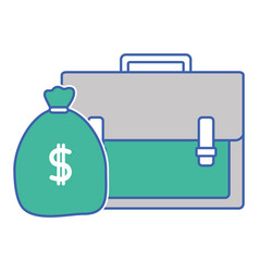 Business briefcase object with bag money vector