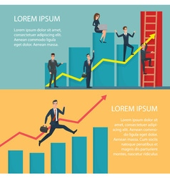 Business people running arrow graph up climbing vector