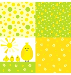 Chicken background set vector image vector image