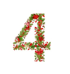 christmas floral tree number 4 vector image vector image